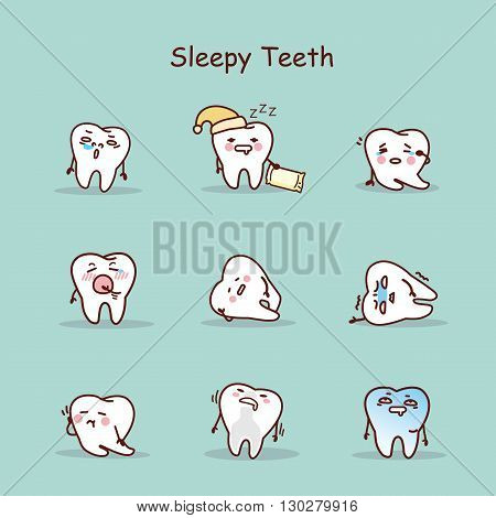 Sleepy cartoon tooth set great for your design
