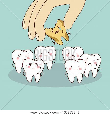cartoon decay tooth with hand great for health dental care concept
