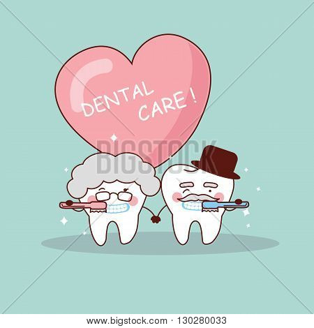 cute cartoon senior couple tooth with toothbrush great for health dental care concept