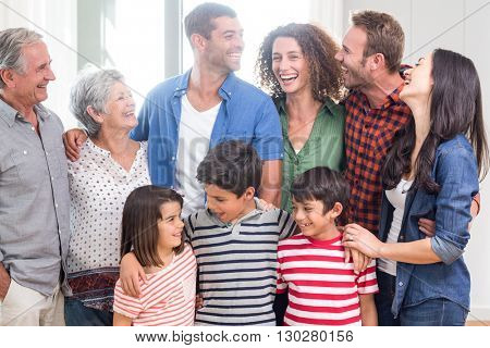 Happy family interacting with each other at home