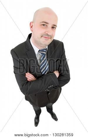 young happy businessman full body, isolated on white background