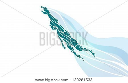Freestyle Female Swimmer Color Silhouette. Sport swimming, front crawl. Vector Professional Swimming Illustration