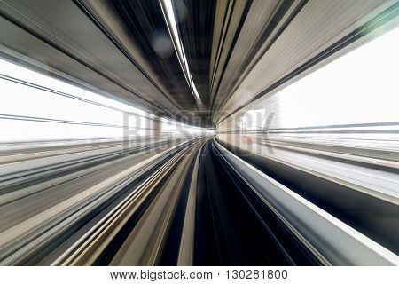 Motion of train passing though the tunnel