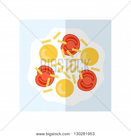 Scrambled eggs. Flat icon fried eggs with cheese. Food for breakfast. Vector illustration