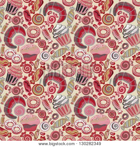 Cute seamless pattern with sweets and desserts: lollipop, candy, donuts, cupcake, dessert, croissant, bagel. Doodle style vector. Baked goods, restaurant menu and tea party background.