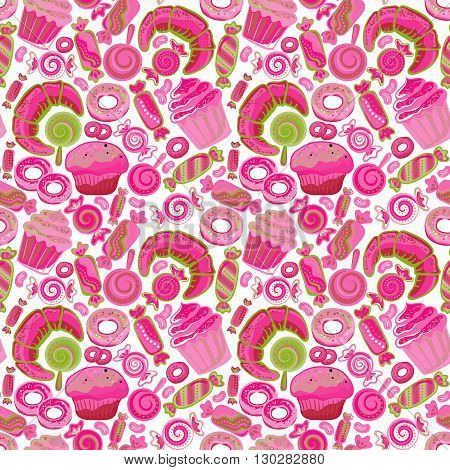 Pastry hand drawn seamless pattern. Doodle collection confections. Colorful background
