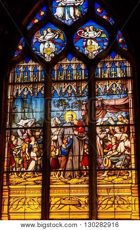 PARIS, FRANCE - MAY 31, 2015 Saint Children Stained Glass Saint Severin Church Paris France. Saint Severin one of oldest churches Paris located in the Latin Quarter. Built in the 1500s