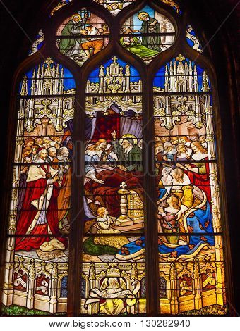 PARIS, FRANCE - MAY 31, 2015 Bishop Saint Stained Glass Saint Severin Church Paris France. Saint Severin one of oldest churches Paris located in the Latin Quarter. Built in the 1500s