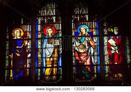 PARIS, FRANCE - MAY 31, 2015 Saint John Baptist Stained Glass Saint Severin Church Paris France. Saint Severin one of oldest churches Paris located in the Latin Quarter. Built in the 1500s