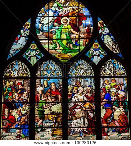 PARIS, FRANCE - MAY 31, 2015 Saint John the Baptist Beheading Stained Glass Saint Severin Church Paris France. Saint Severin one of oldest churches Paris located in the Latin Quarter. Built in the 1500s