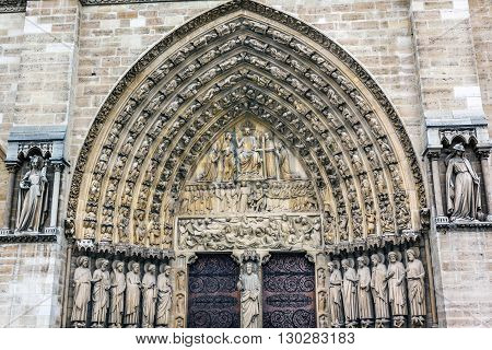 Judgement Door Biblical Statues Notre Dame Cathedral Paris France. Notre Dame was built between 1163 and 1250AD.