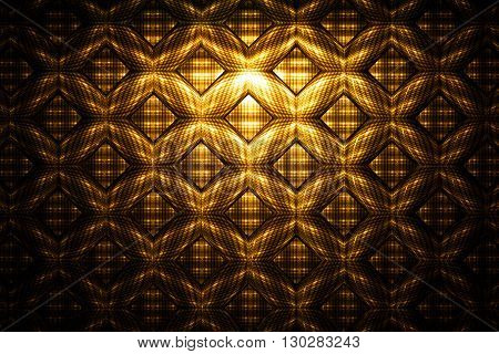 Abstract golden detailed geometrical ornament on black background. Fantasy fractal texture.