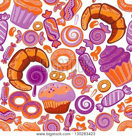 Pastry hand drawn seamless pattern. Doodle background collection confections. Icon set vector