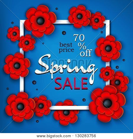 3d vector illustration. Frame with voluminous flowers. Spring banner. Discounts, super sale, 70% off, best price, marketing, advertising, business. Handmade. Vector background.