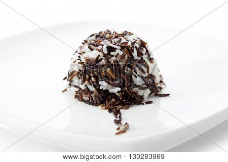 Steamed Rice on a White Plate