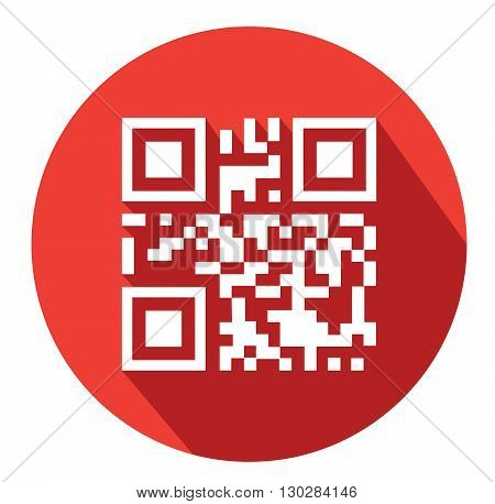 Modern flat business QR-Code icons with long shadow effect