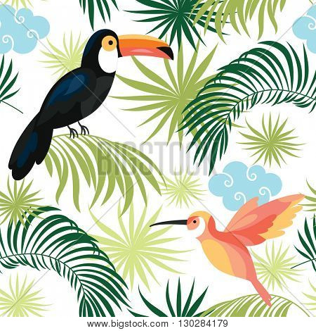 seamless pattern with tropical birds