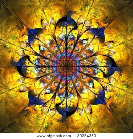 Abstract shining golden mandala with floral ornament. Symmetrical pattern in orange yellow and navy blue colors. Fantasy fractal design for postcards or t-shirts.