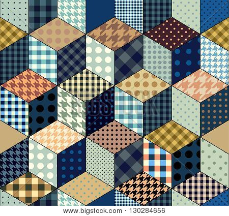 Seamless abstract background in patchwork style and imitation of a cubes