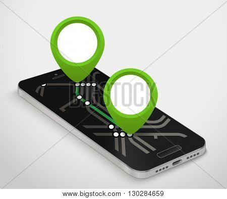 Modern smartphone with abstract metro map. Dark mobile phone and a map 