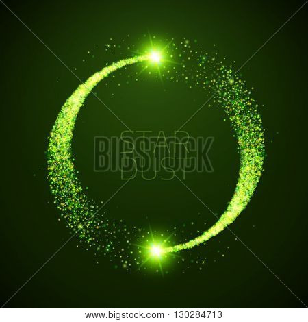 Vector star dust circle. Magic glittering illustration. Bright green sparkles and stars on dark background