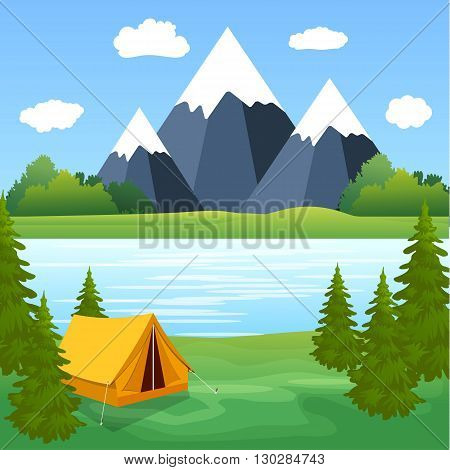 Tent Camping Tourist Forest Mountain Expedition. travel and vacation concept. vector illustration in flat design