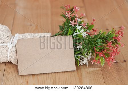 Bouquet of dried flowers with blank paper tag