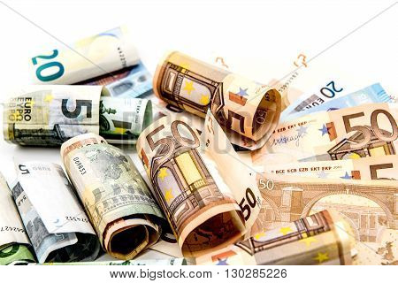 Money Euro currency with Isolated white background