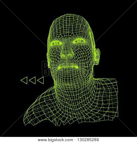Head of the Person from a 3d Grid. Human Head Wire Model. Human Polygon Head. 3d Polygonal Covering Skin.