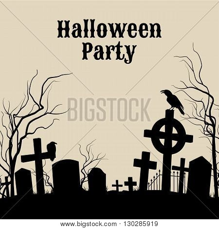 Spooky graveyard on the Halloween Night retro poster for Halloween Party in sepia