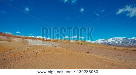 Deposit of colorful clay in the Altai Mountains or Mars valley Altai Kizil-Chin