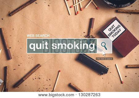 Quit smoking web search box glossary term on internet