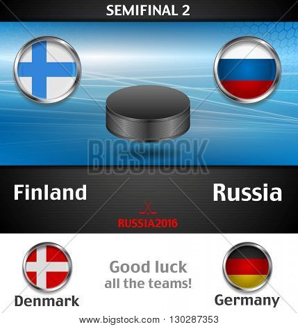 Semifinal of the world championship hockey background with black puck. Vector graphic winter sport design