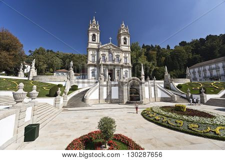 BRAGA, PORTUGAL - September 21, 2015: The neoclassical Basilica of Bom Jesus (Good Jesus) in Braga on September 21, 2015 in Braga, Portugal