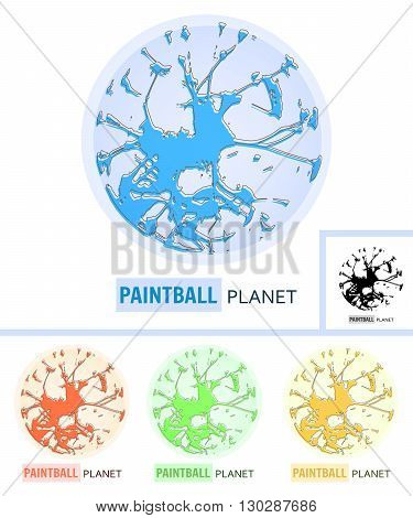Paintball Planet. Logo Design for Paintball Club. Abstract Vector Logo Design Template.