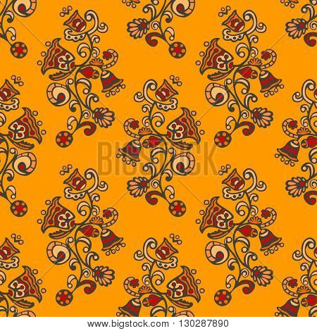 Seamless pattern with psychedelic flowers on orange background