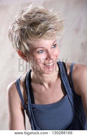 Athletic Beautiful Blond Woman Smiling