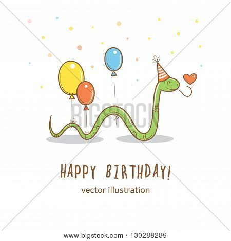 Birthday card  with cute cartoon snake in party hat  and colorful balloons. Greetings from funny  animal. Vector image. Children's illustration.