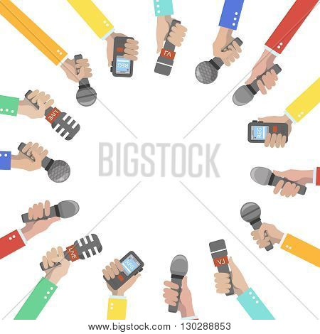 Set of hands holding microphones and voice recorders. Journalism concept illustration
