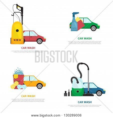 Set of labels on car wash theme in flat style. Vector illustration with cars detergent products and different tools.