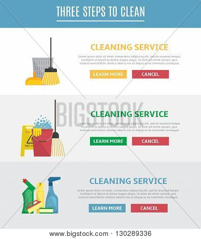 Set of horizontal web banners for cleaning service. Vector illustration with brush, sponge, detergent product, glass cleaner, broom, mop and other different tools for cleaning. Icons in flat style.