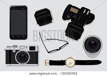 Professional photography equipment vector illustration top view concept