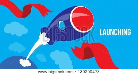 Launching Ideas. Startup Concept Flat Design Rocket Launch illustration vector