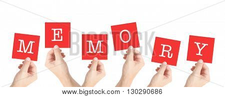 Memory written on cards held by hands