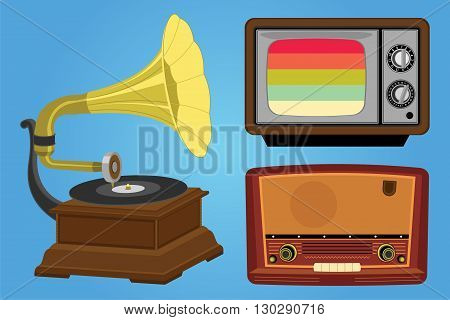 Retro media equipment radio and television Vector illustration