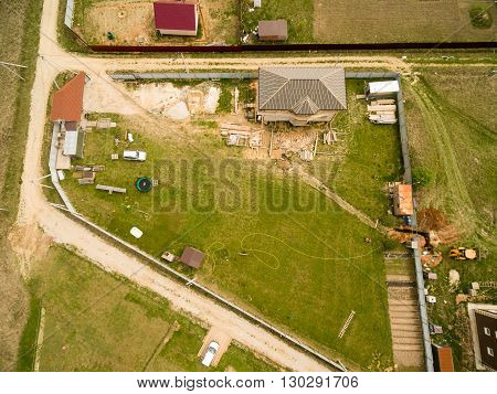 Bird perspective of village. View from the top