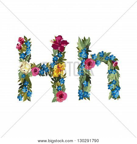 H letter. Flower capital alphabet. Colorful font. Uppercase and lowercase. Vector illustration. Grotesque style. Floral alphabet.