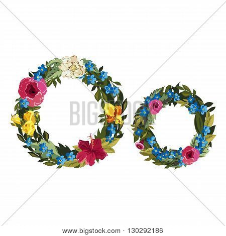 O letter. Flower capital alphabet. Colorful font. Uppercase and lowercase. Vector illustration. Grotesque style. Floral alphabet.
