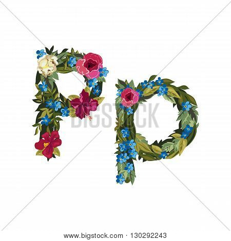 P letter. Flower capital alphabet. Colorful font. Uppercase and lowercase. Vector illustration. Grotesque style. Floral alphabet.