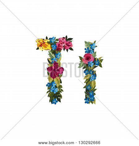 T letter. Flower capital alphabet. Colorful font. Uppercase and lowercase. Vector illustration. Grotesque style. Floral alphabet.